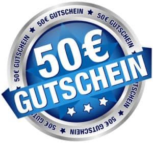 """Button Banner """"50 Gutschein"""" blau/silber"""